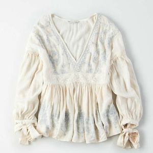 American  Eagle outfitters embroidered boho blouse